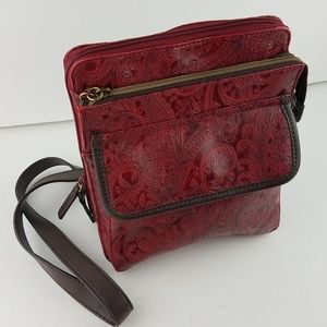 Relic Red Tooled Embossed Paisley Cross Body Purse